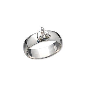 Ring finding, Hill Tribes, fine silver, 7mm smooth band with 3 loops, size 6-1/2 to 7. Sold individually.