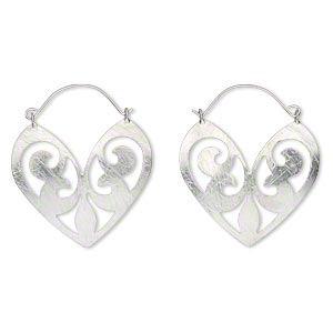 Hoop Earrings Imitation rhodium-finished Silver Colored