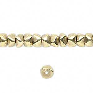 Bead, brass, 6x4mm nugget. Sold per 16-inch strand.