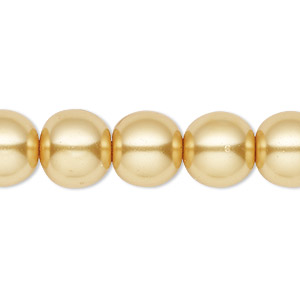 Imitation Pearls Glass Gold Colored