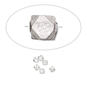 Bead, Hill Tribes, silver-plated copper, 4x4mm faceted cube with flower design. Sold per pkg of 6.