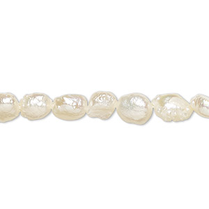 pearl, cultured freshwater (bleached), white, 6-7mm flat-sided potato, f grade, mohs hardness 2-1/2 to 4. sold per 15-inch strand.