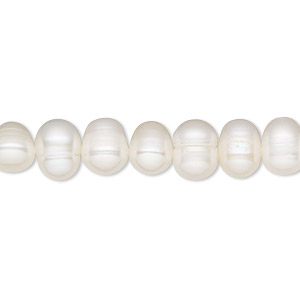 pearl, cultured freshwater (bleached), white, 7-8mm semi-round, d grade, mohs hardness 2-1/2 to 4. sold per 16-inch strand.