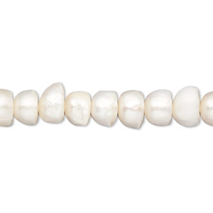 pearl, cultured freshwater (bleached), white, 8-10mm button, c- grade, mohs hardness 2-1/2 to 4. sold per 15-inch strand.