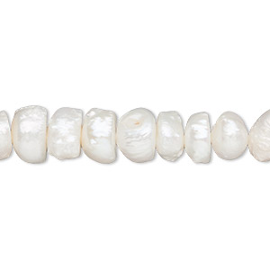 pearl, cultured freshwater (bleached), white, 8-12mm rustic button, c grade, mohs hardness 2-1/2 to 4. sold per 16-inch strand.