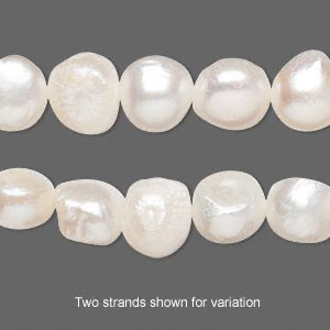 pearl, cultured freshwater (bleached), white, 9-10mm flat-sided potato, d grade, mohs hardness 2-1/2 to 4. sold per 16-inch strand.
