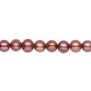 pearl, cultured freshwater (dyed), black cherry, 5-6mm semi-round, c grade, mohs hardness 2-1/2 to 4. sold per 16-inch strand.