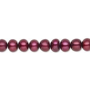 pearl, cultured freshwater (dyed), black cherry, 6-7mm button, c grade, mohs hardness 2-1/2 to 4. sold per 16-inch strand.