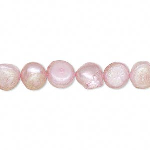 pearl, cultured freshwater (dyed), blush, 7-8mm flat-sided potato, d grade, mohs hardness 2-1/2 to 4. sold per 16-inch strand.