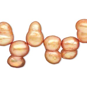 pearl, cultured freshwater (dyed), burnt orange, 12x8mm-15x10mm top-drilled peanut, d grade, mohs hardness 2-1/2 to 4. sold per 16-inch strand.
