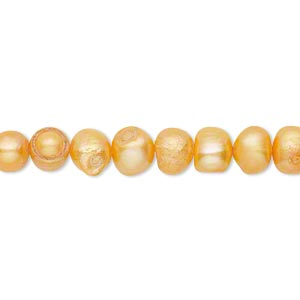 pearl, cultured freshwater (dyed), carrot, 5-6mm semi-round, d grade, mohs hardness 2-1/2 to 4. sold per 16-inch strand.