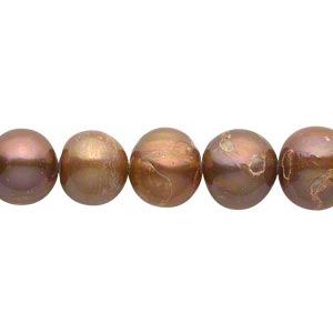 pearl, cultured freshwater (dyed), copper, 9-10mm semi-round, d grade, mohs hardness 2-1/2 to 4. sold per 15-inch strand.