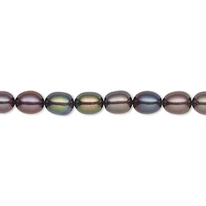 pearl, cultured freshwater (dyed), dark peacock, 4-5mm rice, c grade, mohs hardness 2-1/2 to 4. sold per 16-inch strand.