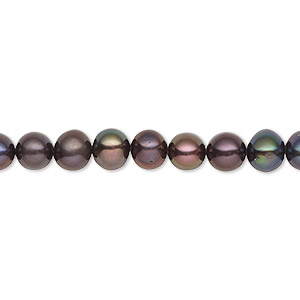 pearl, cultured freshwater (dyed), dark peacock, 5-6mm semi-round, c grade, mohs hardness 2-1/2 to 4. sold per 16-inch strand.
