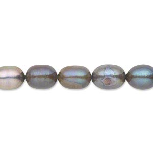 pearl, cultured freshwater (dyed), dark peacock, 7mm rice, d grade, mohs hardness 2-1/2 to 4. sold per 16-inch strand.