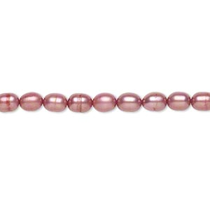 pearl, cultured freshwater (dyed), dusty rose, 4mm rice, c+ grade, mohs hardness 2-1/2 to 4. sold per 15-inch strand.