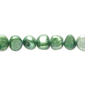 pearl, cultured freshwater (dyed), forest green, 6-7mm flat-sided potato, d grade, mohs hardness 2-1/2 to 4. sold per 15-inch strand.