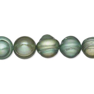 pearl, cultured freshwater (dyed), forest green, 9-11mm semi-round, d grade, mohs hardness 2-1/2 to 4. sold per 15-inch strand.
