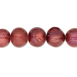 pearl, cultured freshwater (dyed), fruit punch, 10-11mm semi-round, d- grade, mohs hardness 2-1/2 to 4. sold per 16-inch strand.