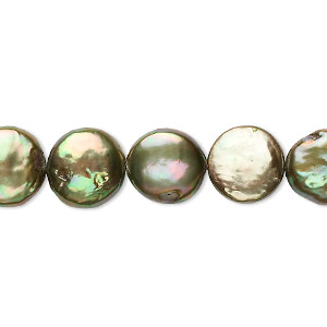 pearl, cultured freshwater (dyed), gold and green, 10-12mm flat round, c- grade, mohs hardness 2-1/2 to 4. sold per 16-inch strand.