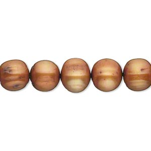 pearl, cultured freshwater (dyed), golden copper, 8-9mm semi-round, d grade, mohs hardness 2-1/2 to 4. sold per 16-inch strand.