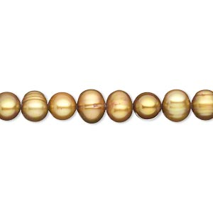 pearl, cultured freshwater (dyed), golden olive, 5-6mm semi-round, c- grade, mohs hardness 2-1/2 to 4. sold per 15-inch strand.