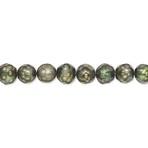 pearl, cultured freshwater (dyed), green, 5-6mm faceted semi-round with 0.2-0.7mm hole, c grade, mohs hardness 2-1/2 to 4. sold per 16-inch strand.