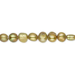 pearl, cultured freshwater (dyed), green olive, 5mm semi-round, d grade, mohs hardness 2-1/2 to 4. sold per 15-inch strand.