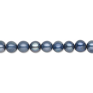 pearl, cultured freshwater (dyed), iris blue, 5-6mm semi-round, c grade, mohs hardness 2-1/2 to 4. sold per 16-inch strand.