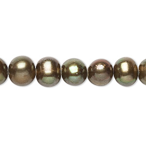pearl, cultured freshwater (dyed), iris bronze, 7-8mm semi-round, c+ grade, mohs hardness 2-1/2 to 4. sold per 14-inch strand.
