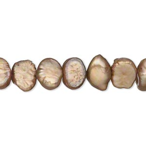 pearl, cultured freshwater (dyed), iris gold, 7-8mm flat-sided potato, d+ grade, mohs hardness 2-1/2 to 4. sold per 15-inch strand.