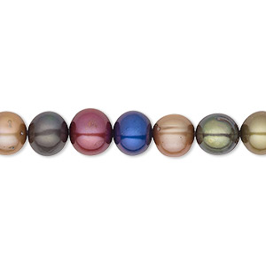 pearl, cultured freshwater (dyed), jewel tones, 7-8mm semi-round, c+ grade, mohs hardness 2-1/2 to 4. sold per 16-inch strand.