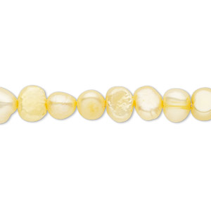 pearl, cultured freshwater (dyed), jonquil, 5-6mm flat-sided potato, d grade, mohs hardness 2-1/2 to 4. sold per 16-inch strand. minimum 2 per order.