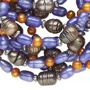 pearl, cultured freshwater (dyed), multicolored, 2-8mm semi-round / rice / button, d- grade, mohs hardness 2-1/2 to 4. sold per 54-inch continuous loop.
