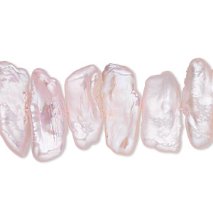 pearl, cultured freshwater (dyed), pink, 16x4mm-24x8mm stick, c- grade, mohs hardness 2-1/2 to 4. sold per 16-inch strand.