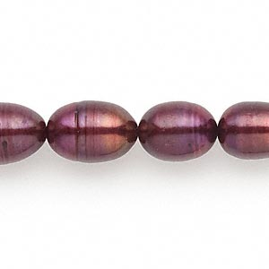 pearl, cultured freshwater (dyed), rhubarb, 9-10mm rice, d grade, mohs hardness 2-1/2 to 4. sold per 16-inch strand.