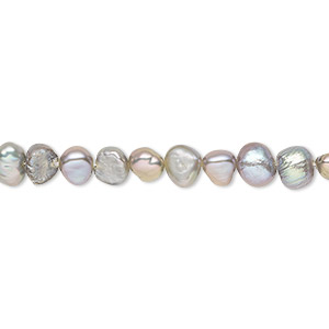 pearl, cultured freshwater (dyed), sage, 5-6mm flat-sided potato, d grade, mohs hardness 2-1/2 to 4. sold per 16-inch strand.
