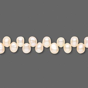 pearl, cultured freshwater, peach, 5x4mm-6x4mm top-drilled rice, c grade, mohs hardness 2-1/2 to 4. sold per 15-inch strand.