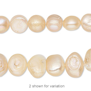 pearl, cultured freshwater, peach, 9mm semi-round, d grade, mohs hardness 2-1/2 to 4. sold per 15-inch strand.