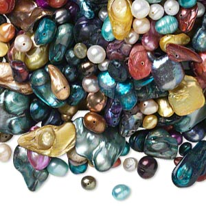 pearl mix, cultured freshwater (bleached / dyed), mixed colors, 5x4mm-42x30mm mixed shape, d- grade, mohs hardness 2-1/2 to 4. sold per 1-pound pkg, approximately 950-990 beads.