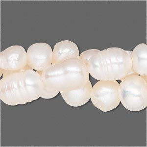 pearl mix, cultured freshwater (bleached), white, 5-10mm mixed shape, d grade, mohs hardness 2-1/2 to 4. sold per pkg of (3) 16-inch strands.