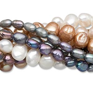 pearl mix, cultured freshwater (dyed / bleached), mixed colors, 5mm-11x7mm mixed shape, d+ grade, mohs hardness 2-1/2 to 4. sold per pkg of (10) 16-inch strands.