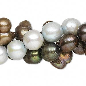 pearl mix, cultured freshwater (dyed), mixed colors, 8-10mm mixed shape, d grade, mohs hardness 2-1/2 to 4. sold per pkg of (3) 16-inch strands.