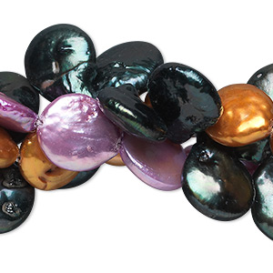 pearl mix, cultured freshwater (dyed), mixed colors, 8-16mm flat round, c- grade, mohs hardness 2-1/2 to 4. sold per pkg of (3) 15-inch strands.