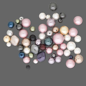 pearl mix, swarovski crystals, mixed colors, 3-14mm mixed shape. sold per 25-gram pkg, approximately 20-45 pearls.