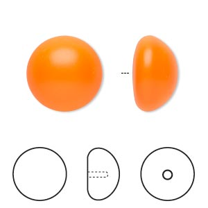 pearl, swarovski crystal cabochon, neon orange, 16mm half-drilled round (5817). sold per pkg of 2.
