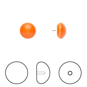 pearl, swarovski crystal cabochon, neon orange, 8mm half-drilled round (5817). sold per pkg of 50.
