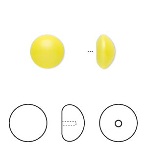 pearl, swarovski crystal cabochon, neon yellow, 10mm half-drilled round (5817). sold per pkg of 2.