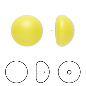 pearl, swarovski crystal cabochon, neon yellow, 16mm half-drilled round (5817). sold per pkg of 2.