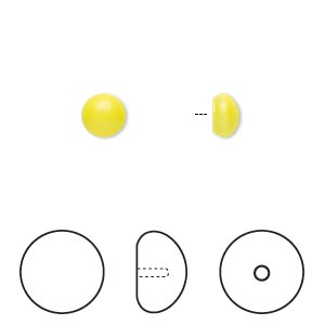 pearl, swarovski crystal cabochon, neon yellow, 6mm half-drilled round (5817). sold per pkg of 50.